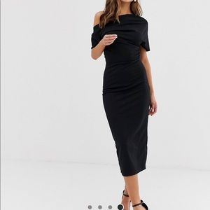 Asos pleated shoulder pencil dress
